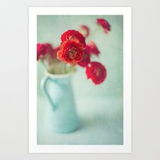 Ranunculus in Blue Vase Art Print