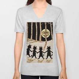 Cats & a Full Moon-Louis Wain Black Cats Unisex V-Neck