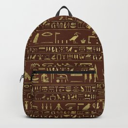 Egyptian hieroglyphs gold on brown leather Backpack