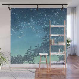 In the night - George Auriol - 1904 Sky Tree Firefly Silhouette Blue Turquoise Ombre Wall Mural