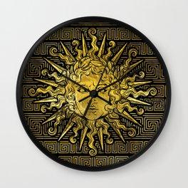 Apollo Sun Symbol on Greek Key Pattern Wall Clock
