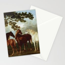 Classical Masterpiece Circa 1762 Mares and Foals in a River Landscape by George Stubbs Stationery Cards