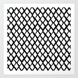 Rhombus White And Black Art Print