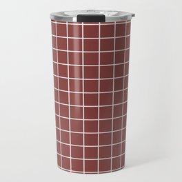 Brandy - purple color - White Lines Grid Pattern Travel Mug