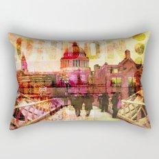 London St. Pauls Cathedral modern illustration typography Rectangular Pillow