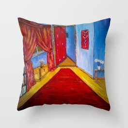 Down the Blue Passage with Flowers Throw Pillow