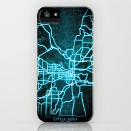 Little Rock, AR, USA, Blue, White, Neon, Glow, City, Map iPhone Case