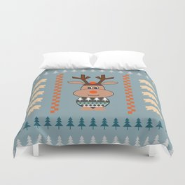 Reindeer and bears- winter decor Duvet Cover