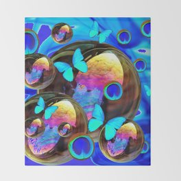 SURREAL NEON BLUE BUTTERFLIES IRIDESCENT SOAP BUBBLES PEACOCK EYES Throw Blanket