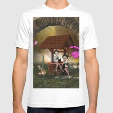 Cute playing fairy MEDIUM Mens Fitted Tee White