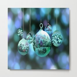 Christmas Bulbs in Blue Metal Print