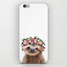 Baby Sloth With Flower Crown, Baby Animals Art Print By Synplus iPhone Skin