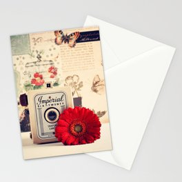 Retro Camera and Red Flower (Retro and Vintage Still Life Photography) Stationery Cards