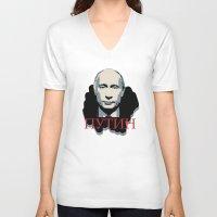putin V-neck T-shirts featuring Putin by Artlotus