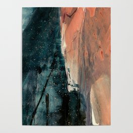 Same Stars [2] - an abstract mixed media piece in blues, pinks, and black Poster