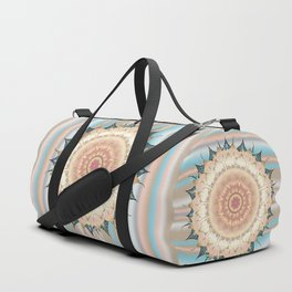 Delicate Oriental Mandala on Stripes Duffle Bag