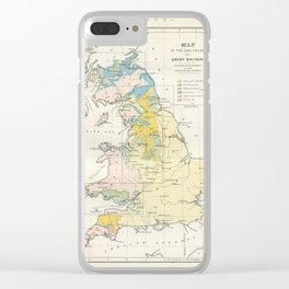 Vintage Map of the Coal Fields of Great Britain Clear iPhone Case