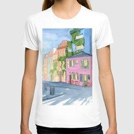 Paris, La maison rose, watercolor cityscape T-shirt