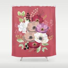 Anemones & Gardenia pink bouquet Shower Curtain