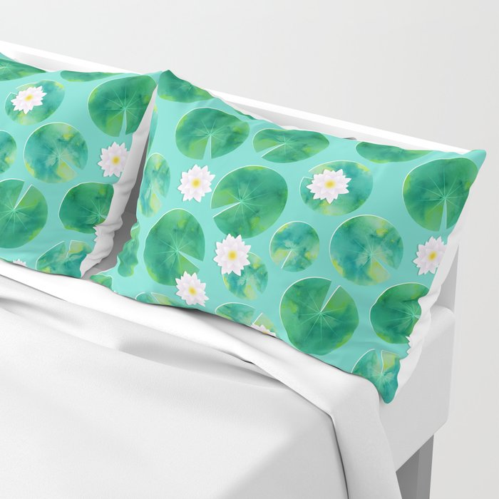 Lily Pads & White Water Lily Flowers Pillow Sham