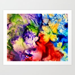 Abstract Encaustic Colorful Flowers, Art Print