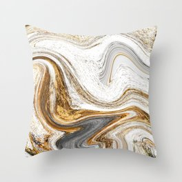 Gold, White, and Gray Abstract Painting Throw Pillow