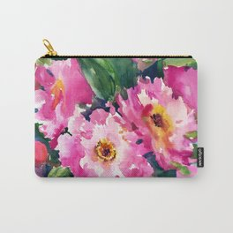 Peonies, garden flowers bright pink green garden floral peony art Carry-All Pouch
