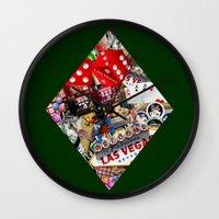 cyarin Wall Clocks featuring Diamond Playing Card Shape - Las Vegas Icons by Gravityx9