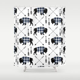 Blue Buffalo Plaid Shower Curtain