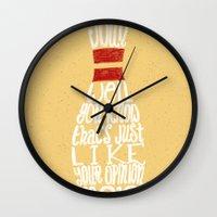 the big lebowski Wall Clocks featuring The Big Lebowski by Drew Wallace