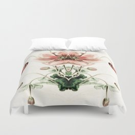 Botanical Flower Glitch IV Duvet Cover