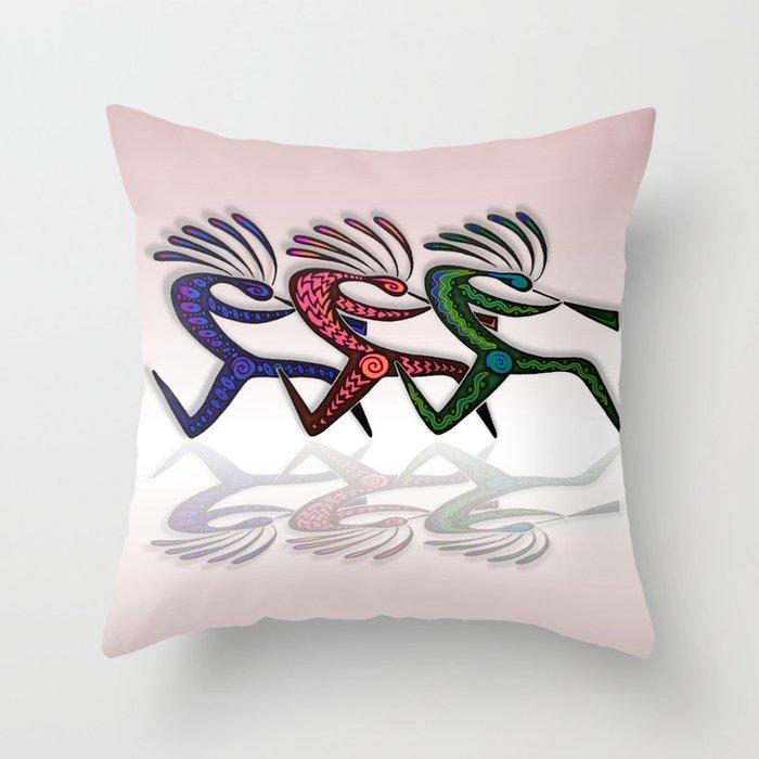 RUNNING KOKOPELLI Throw Pillow
