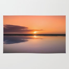 Mindfulness in the Sunrise Reflection at Mediterranean Sea in Valencia, Spain Rug