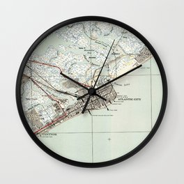Vintage Map of Atlantic City NJ (1941) Wall Clock