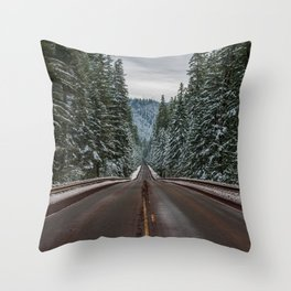 Winter Road Trip - Pacific Northwest Nature Photography Throw Pillow