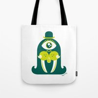 walrus Tote Bags featuring Walrus by Lucy Irving