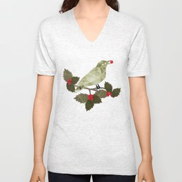 Birds and Holly in Greens, Golds and Red Unisex V-Neck