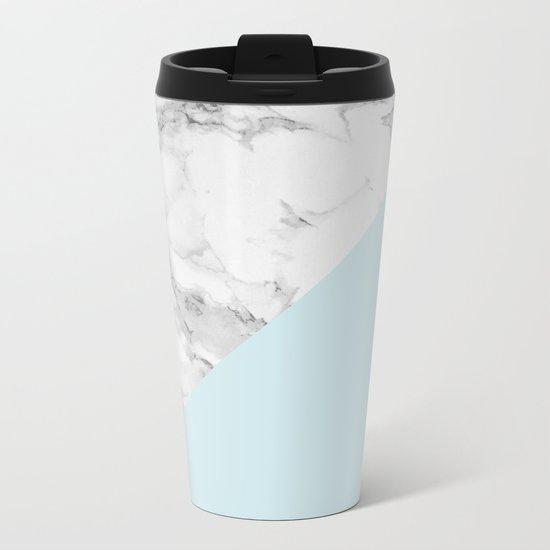 Marble + Pastel Blue Metal Travel Mug
