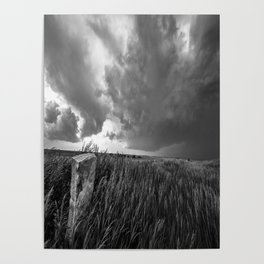 Marker - Old Stone Marker and Storm in Black and White Poster