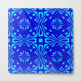 Classic Blue Reflection Pattern Metal Print