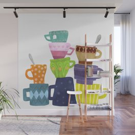 Coffee And Tea Cups And Mugs Stacked High Wall Mural