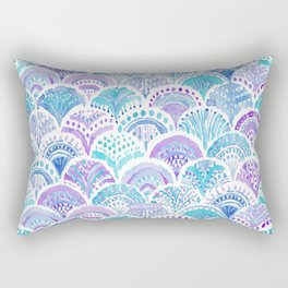Mystical MERMAID DAYDREAMS Watercolor Scales Rectangular Pillow