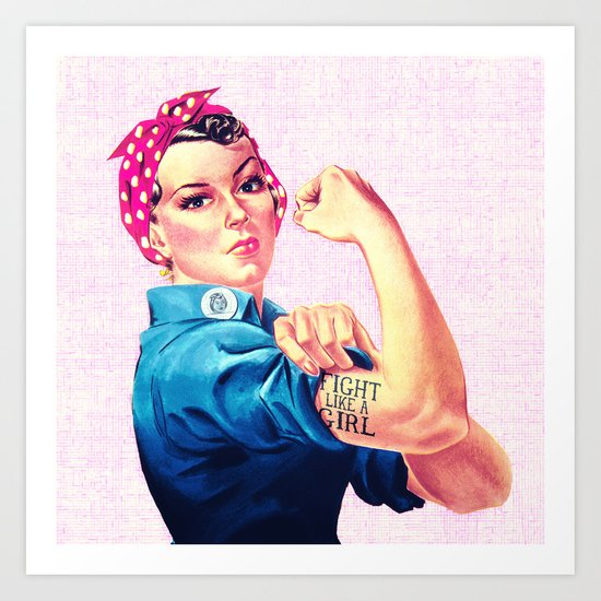 Fight Like A Girl Rosie The Riveter Girly Mod Pink Art Print