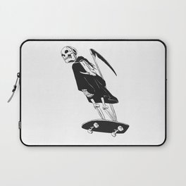 Grim reaper skater - funny skeleton - gothic monster - black and white Laptop Sleeve