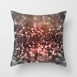 Copper gray and black shiny glitter print - Sparkle Luxury Backdrop Throw Pillow