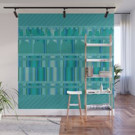 Blue Green Arches and Stripes Pattern Wall Mural