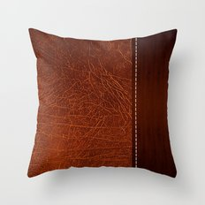 Brown leather look #2 Throw Pillow