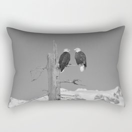 Perched With A View Duo - B & W Rectangular Pillow