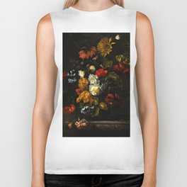 """Ernst Stuven """"A sunflower, carnations, roses, tulips and other flowers in a glass vase on a marble"""" Biker Tank"""