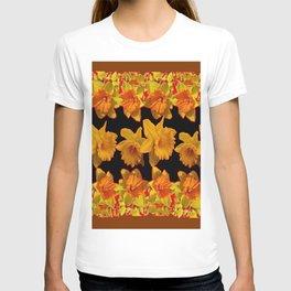 GOLDEN DAFFODILS GARDEN  COFFEE BROWN-BLACK ART T-shirt